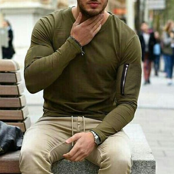 Long Sleeve Arm Pocket T-Shirt