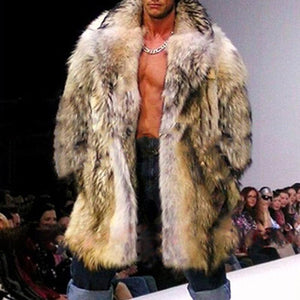 Men's Fur Imitation Braid Hair Long Coat Fashion