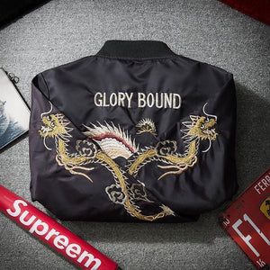 Fashion Lapel Cololar Eagle Embroidery Baseball Coat