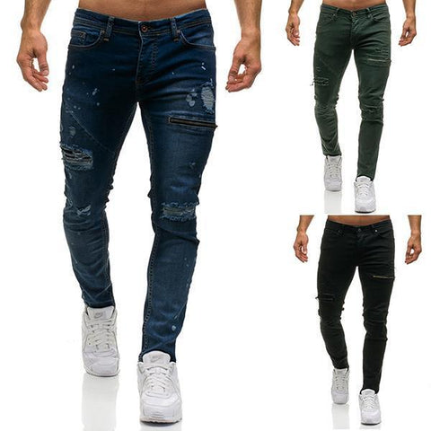 Men's Personality Hole Zipper Jeans