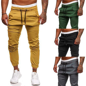 Slim-Fit Solid Color Lace-Up Sports Pants