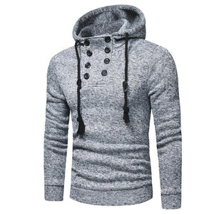 Fashion Double-Breasted Slim Solid Color Hoodie