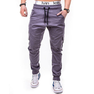 Men's Side Pocket Rope Elasticated Belt Casual Pants