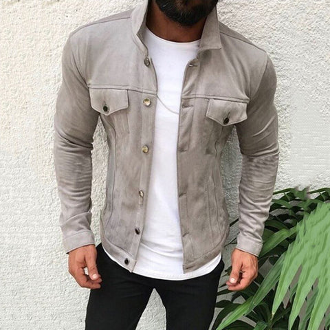 Fashion Solid Color Long Sleeve Men Jackets