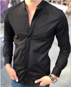 Stand Collar Solid Color Slim   Long-Sleeved Shirt