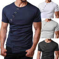 Men's Round Neck Irregular Hem T-Shirt