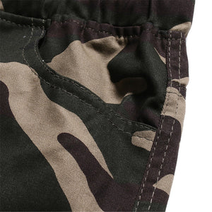 Men's Fashion Tie Belt Camouflage Casual Shorts