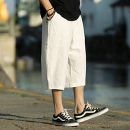 Retro Loose Cotton And Linen Solid Color Casual Trousers