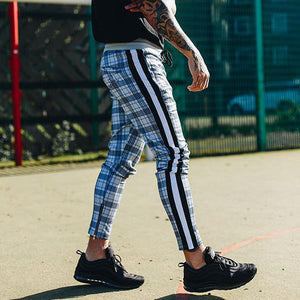 Fashion Colorblock Check Track Jogger Pants