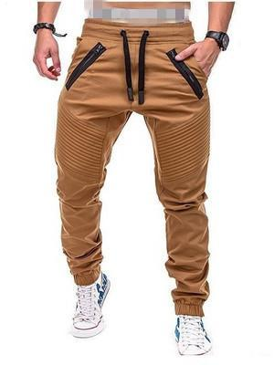 Casual Striped Zippered Sports Trousers