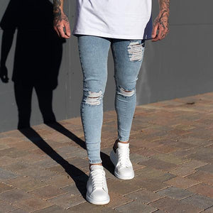 Fashion Street Style Ripped Slim-Fit Jeans