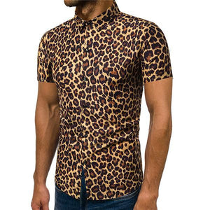 Men's Fashion Leopard Short Sleeve Shirt
