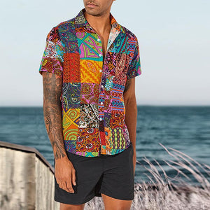 Men's Casual Fashion Printed Loose Slim Fit Shirt