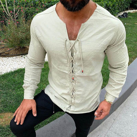 Casual Pure Colour Tether Cotton Linen Shirt