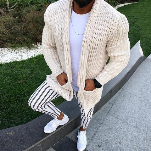 Fashion Solid Color Pocket Long Sleeve Casual Sweaters