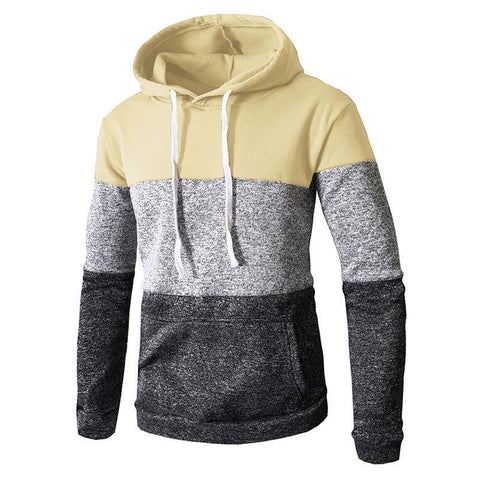 Casual Sports Contrast Color Pullover Hooded Sweatshirt