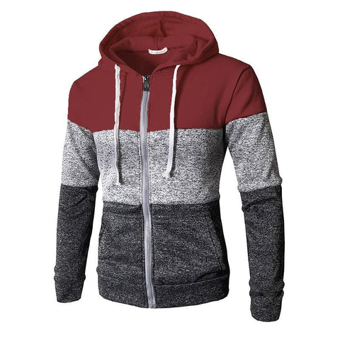 Casual Contrast Color Zipper Hooded Sweatshirt