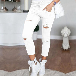 Fashion Solid Color Hole Casual Pencil Pants