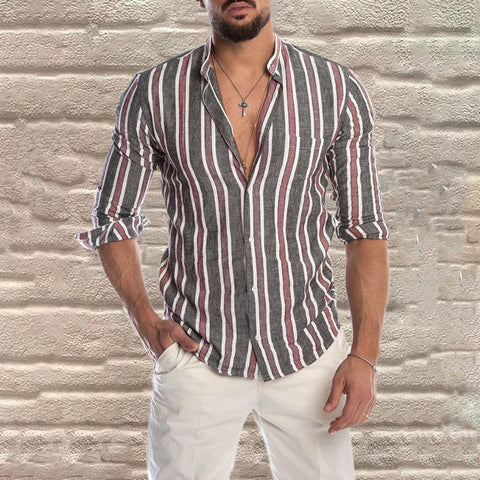 Fashion Stripe Stand Collar Slim Fit Shirt