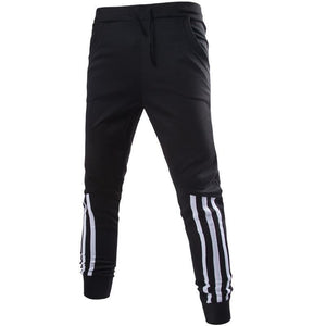 Men Solid Color Elastic Waist Sports Leg Pants