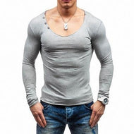 Personality Slim Turtleneck Solid Color Long Sleeve Men's T-Shirt