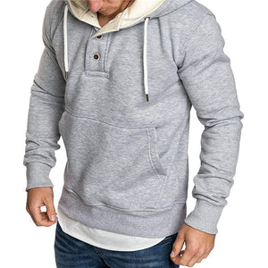 Men's buttoned hooded fleece sweater