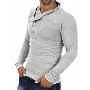 Fashion Youth Casual Sport Slim Plain Button Collar Long Sleeve Hoodie