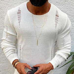 Men'S Round Collar Broken Holes Sweater