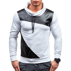 Casual Split Leather Hooded Long-sleeved Men's T-shirt