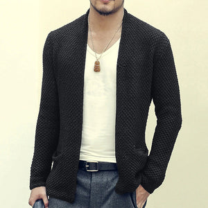 Mens Solid Color Long Cardigan Sweater