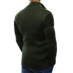 Casual lapel zipper sweater hole sweater
