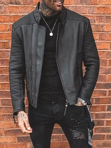 Fashion Stripe Sleeve Stand Collar Leather Jacket