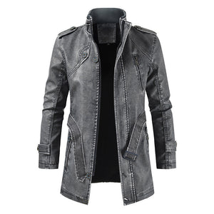 Casual Fashion Stand Collar Mid-Length Leather Coat