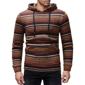 Fashion casual men's knit striped hooded sweater