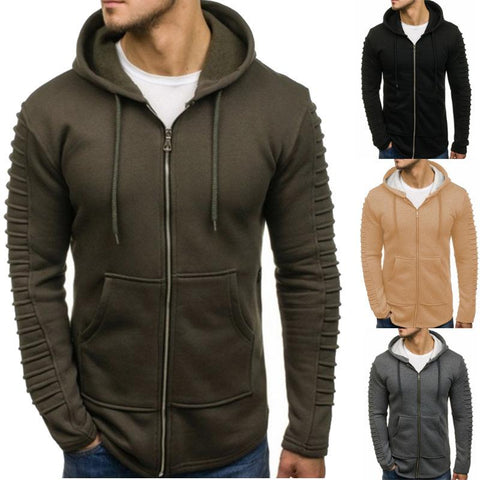 Men's Turtleneck Striped Pleated Hoodie