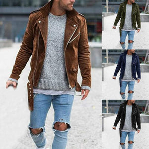 Solid Color Zipper Lapel Casual Pleated Jacket