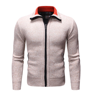 Fashion Zipper Brushed Long Sleeve Sweater