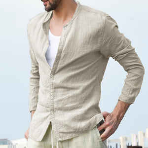 Simple Linen Button Stand Collar Shirt