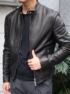 Stylish Solid Color Zip Leather Jacket