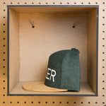 MAKER snapback hat (tan + herringbone)