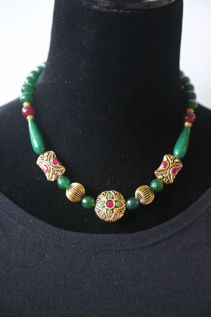 Green Agate Beads Necklace With Antique Victorian Beads with Ruby colored stone inlay