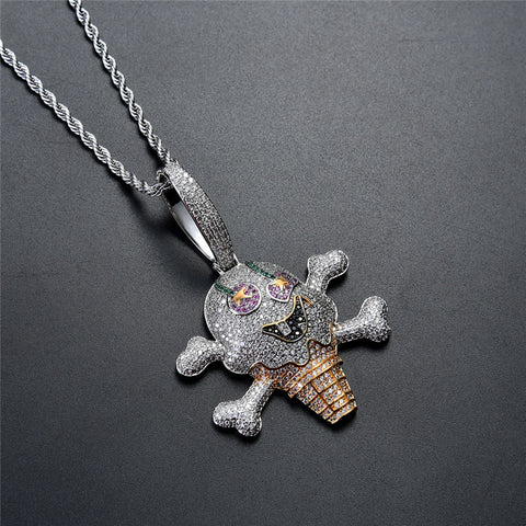 14K Gold Iced Out Ice Cream Skull Necklace