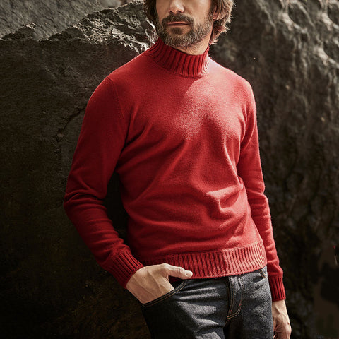 Casual solid color versatile warm men's knit sweater