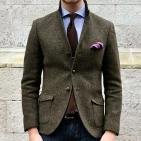 Fashion Men's Solid Color Long Sleeve Blazer
