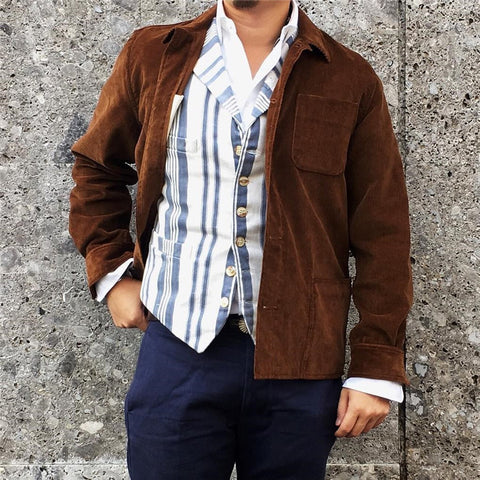 Mens casual solid color corduroy shirt