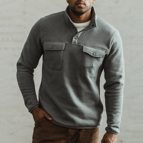 Men's Casual Solid Color Stand Collar Sweater