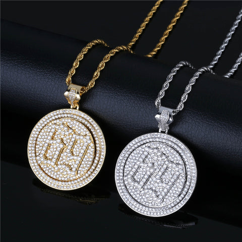 Zircon Rotating Double Disc Necklace