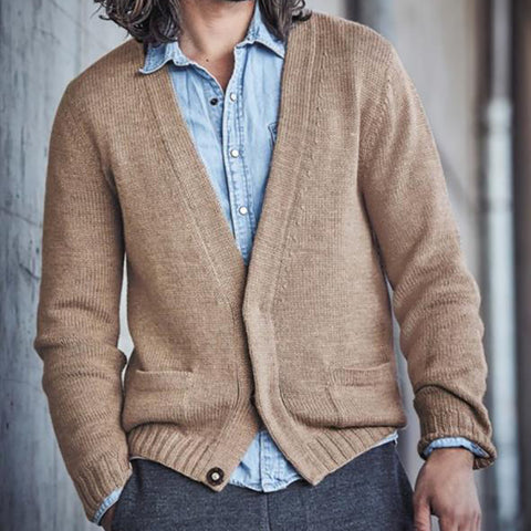Men's casual simple solid color sweater