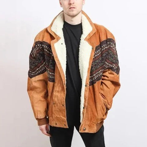 Men's Vintage  Double-breasted Printed Color Splicing Plush Jacket