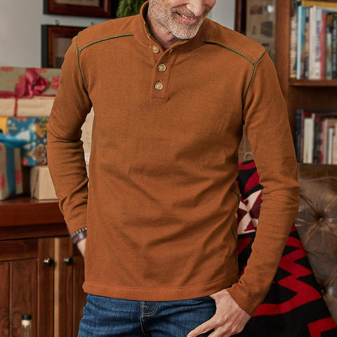 Mens classic casual solid color pullover button sweater